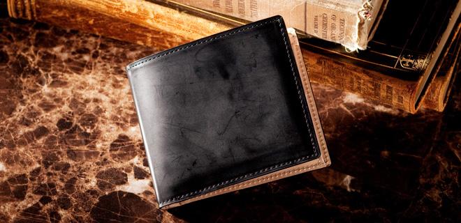 最高級コードバンの輝きを「コードバン2つ折り財布」