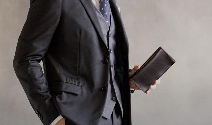 気品と重厚感のあるコードバン通しマチ長財布